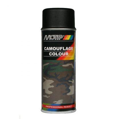Matt svart sprayfärg Motip RAL9021 kamouflage