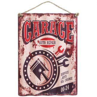 Plåtskylt vintage Garage i korrigerad plåt