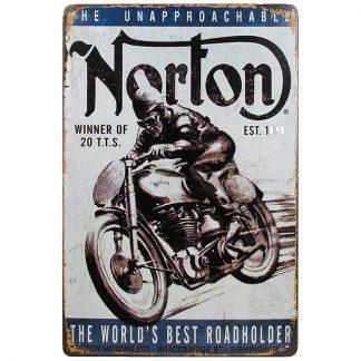 Reklamskylt för Norton motorcyklar litograferad på plåt