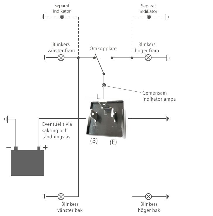 kopplingsschema 3-pols blinkersrelä på motorcykel
