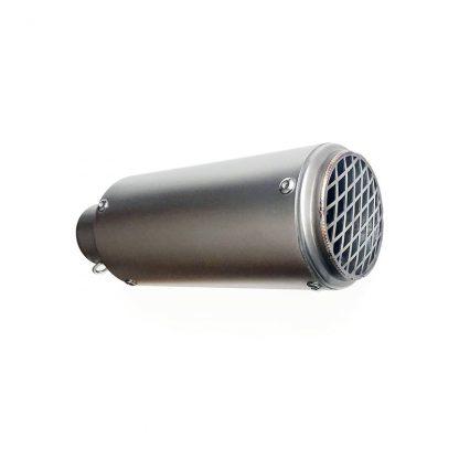 Liten slip-on ljuddämpare med galler bak Scruffler 245 i rostfritt